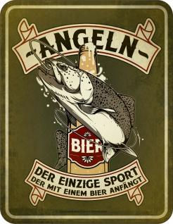Angler Schild - Angeln - Sport mit Bier - Männer Geschenk Blechschild bedruckt