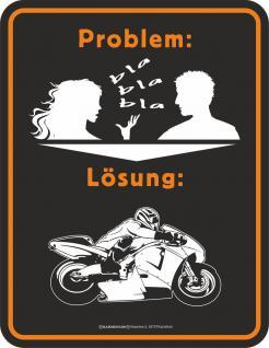 Blechschild Problem Lösung Bike Fun Biker Schild Alu geprägt bedruckt rostfrei