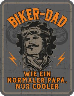 Vatertag Blechschild Cooler Biker Dad Geburtstag Schild Alu geprägt bedruckt