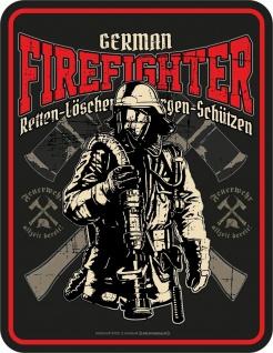 Feuerwehr Schild - German Firefighter - Alu Blechschild geprägt bedruckt