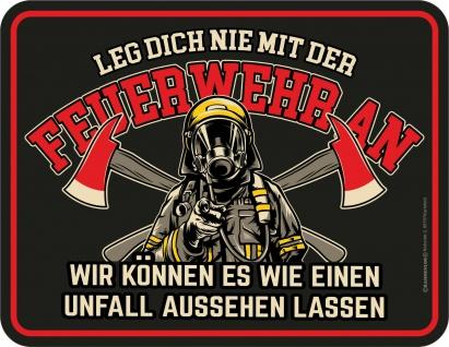 Fun Blechschild - Feuerwehr Unfall - Schild Alu geprägt bedruckt Geschenk