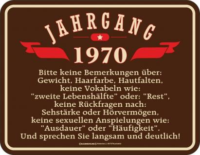 Geburtstag Sprüche Schilder - 50 Jahre - Jahrgang 1970 - Geschenk Blechschild