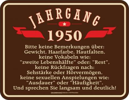 Geburtstag Sprüche Schilder - 70 Jahre - Jahrgang 1950 - Geschenk Blechschild