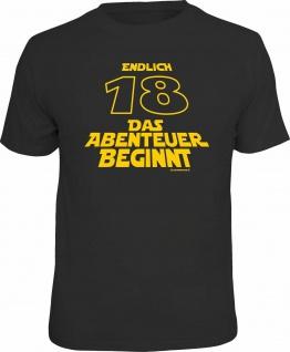 Geburtstag T-Shirt - Endlich 18 - Das Abenteuer beginnt - Fun Shirt Geschenk