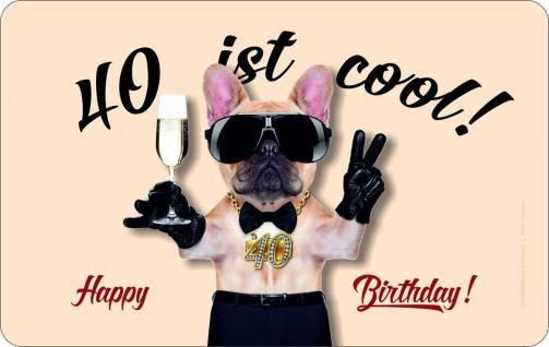 Frühstücksbrett - 40 ist cool - Geburtstag Schneide Brettchen Geschenk Brett