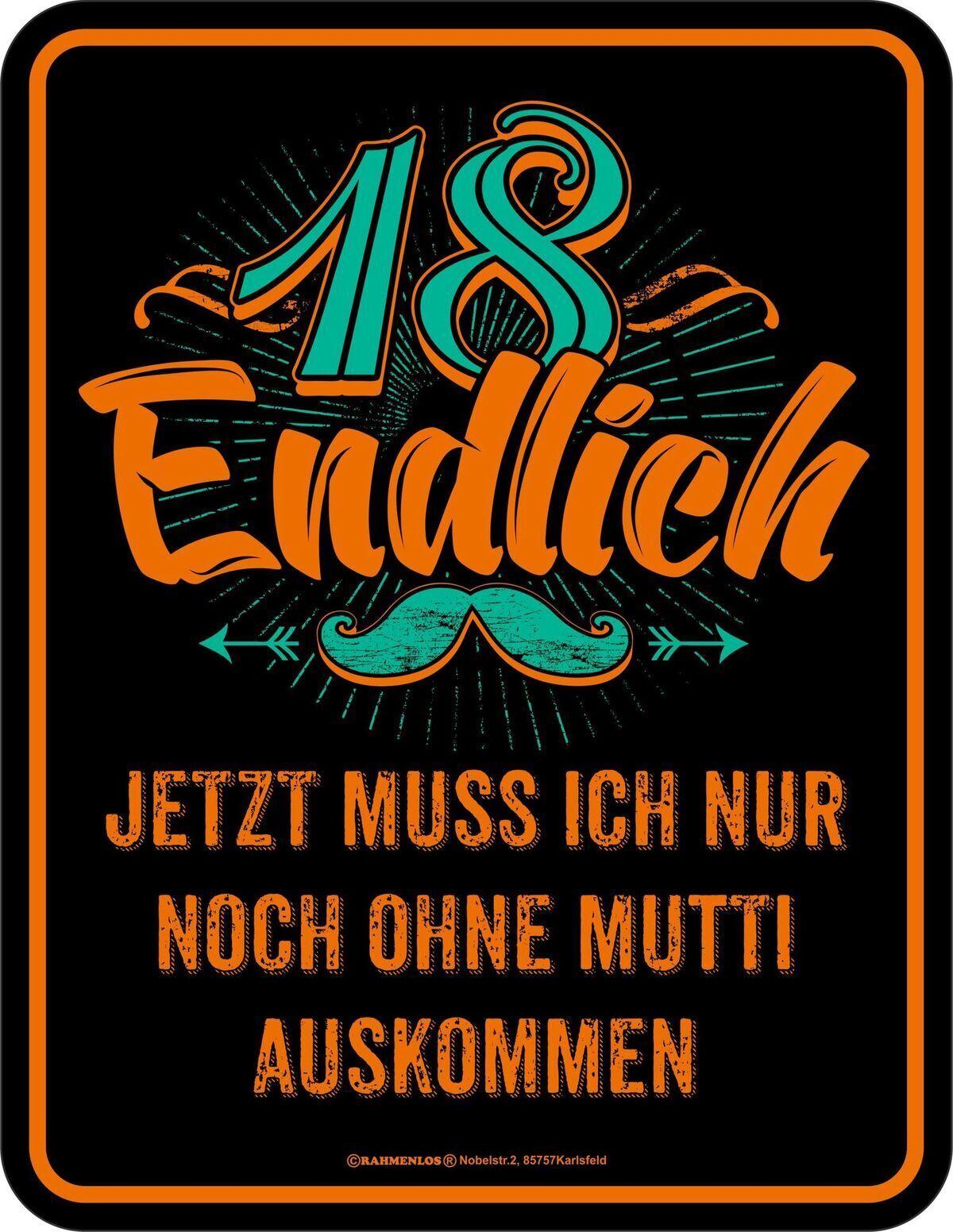 Schilder & Tafeln Geburtstag Blechschild Endlich 18 Jahre
