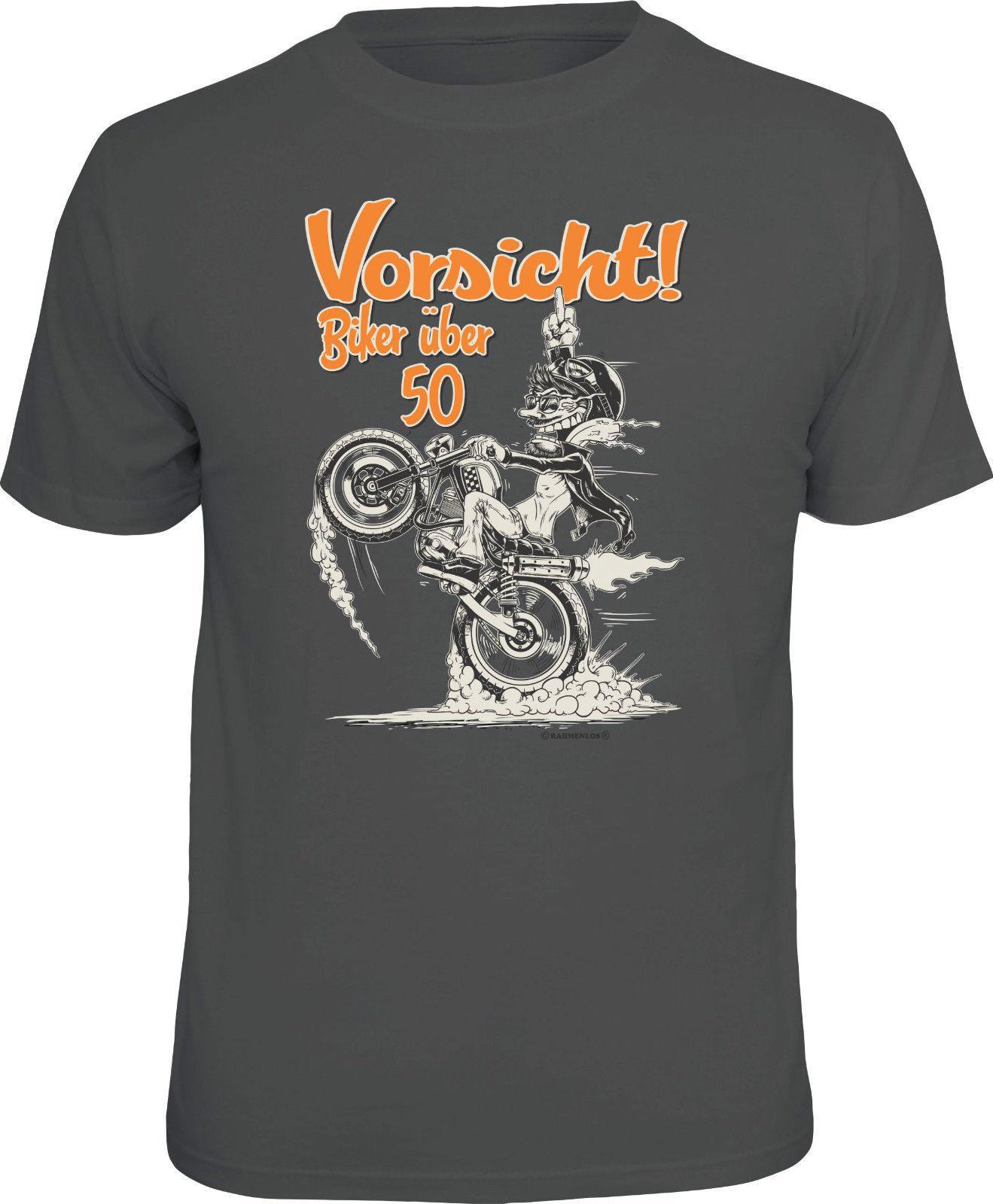 Geburtstag T Shirt Vorsicht Biker Uber 50 Motorrad Shirt Geschenk
