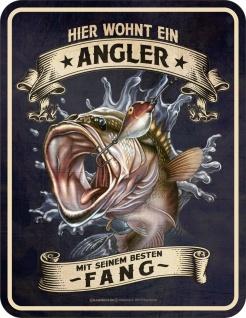 Fun Schild - Hier wohnt ein Angler - Männer Geschenk lustige Sprüche Blechschild