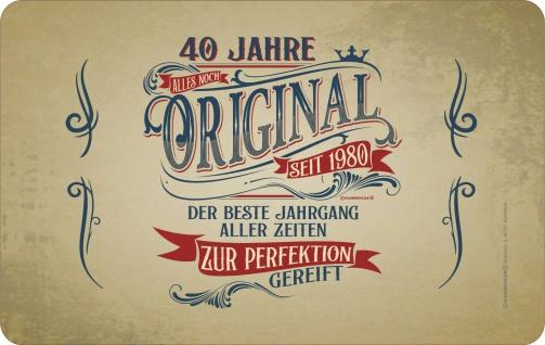 Frühstücksbrett Schneide-Brettchen - 40 Jahre - Original seit 1980 - Geschenk