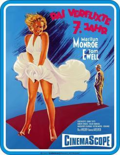Fun Schild Das verflixte 7. Jahr Marilyn Monroe Blechschild Alu geprägt bedruckt