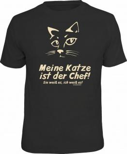 Fun T-Shirt - Meine Katze ist der Chef - Männer Geschenke Shirts 4 Heroes