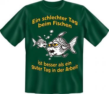 Geburtstag Fun T-Shirt Shirt für Angler bedruckt - Schlechter Tag beim Fischen