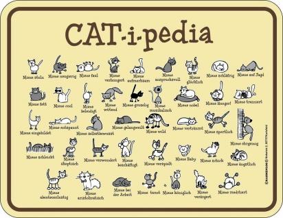 Blechschild Katze CAT-i-pedia Fun Schild Alu geprägt bedruckt rostfrei