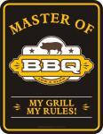 Fun Schild Master of BBQ Grill Wurst Blechschild Alu geprägt bedruckt rostfrei
