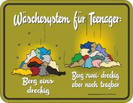Fun Schild - Wäschesystem für Teenager Blechschild