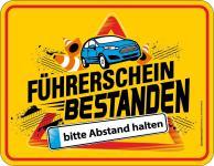 Fun Blechschild Führerschein bestanden - Abstand Alu Schild geprägt bedruckt