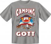 geil bedruckte Fun T-Shirts T Shirt - Camping Gott Campinggott - Spass Geschenk