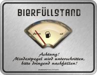 Fun Schild Mindestpegel Bierfüllstand Blechschild Alu geprägt bedruckt rostfrei
