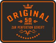 Geburtstag Blechschild 50 Jahre zur Perfektion Fun Schild Alu geprägt bedruckt