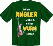 Angel T-Shirt - Angler mit Wurm