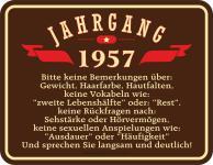 Geburtstag 60 Jahre Blechschild Jahrgang 1957 Fun Schild Alu geprägt bedruckt