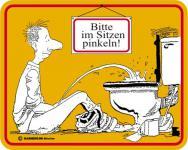 Humor Kühlschrankmagnet Im Sitzen pinkeln Kühlschrank Magnet Fun Schild Metall