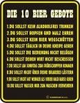 Fun Schild Alu Blechschild bedruckt + geprägt - Die 10 Bier Gebote - Geschenk