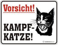 Warn Schild Alu Blechschild geil bedruckt + geprägt - Vorsicht Kampfkatze Katze