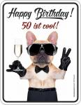 Blechschild 50 ist cool Geburtstag Geschenk Schild Alu geprägt bedruckt rostfrei