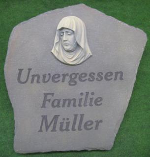 Grabstein/Grabplatte 42 x 42 cm mit Sockel - Vorschau 2