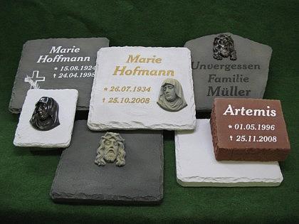 Grabstein/Grabplatte 40 x 40 cm mit Sockel - Vorschau 2