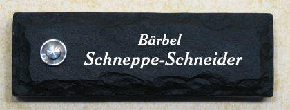 Türklingel / Klingelplatte in Bruchsteinoptik mit Gravur, aus Graphikstein