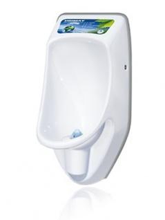 URIMAT compactplus weißes, wasserloses Pissoir mit passivem Werbedisplay