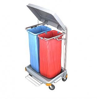 Splast Doppel-Abfallwagen 2x 70l mit Pedal und Deckel - Seitenverkleidung optional