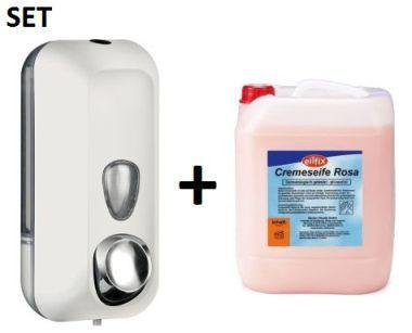 SET Marplast Seifenspender MP714 0, 55L Weiss + Eilfix hygienische Cremeseife 5L
