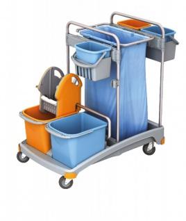Splast Putztrolley-Set mit 5 Eimern, Plastikbasis, Beutelhalter und Moppresse