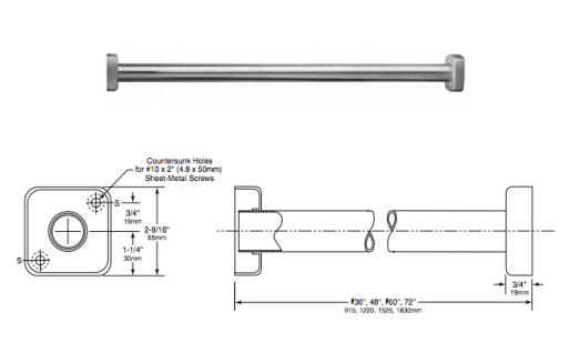 Bobrick Classic Serie B-6047 extra schwere Duschvorhangstange aus Edelstahl - Vorschau 2