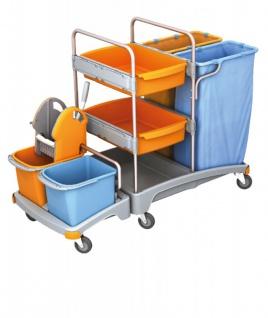 Splast Reinigungswagen mit 2 Abfallsackhaltern, Moppresse und 2 Ablagefächern