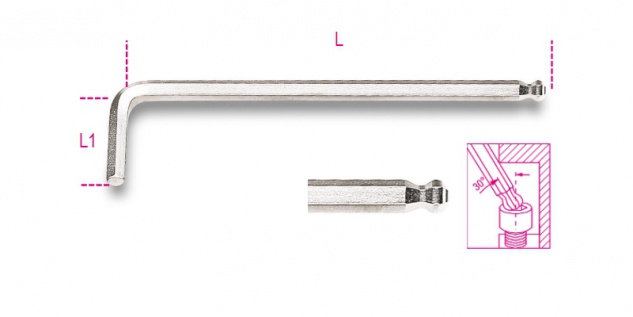 Beta Sechskant-Stiftschlüssel, gebogen, mit kugelförmigem Kopf, verchromt 96BPC