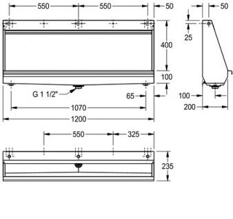 Franke Reihenurinal CMPX551 zur Wandmontage aus Chromnickelstahl - Vorschau 3