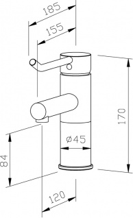 Wagner-EWAR Waschtischarmatur langer Bedienhebel HD WA 100-1 Edelstahl - Vorschau 2