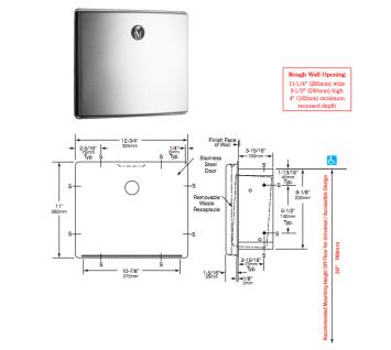 BOBRICK B-4353 Edelstahl matt gebürsteter Hygieneabfallbehälter für Wandeinbau - Vorschau 2