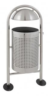 Runder Abfallbehälter für draußen mit Regendach