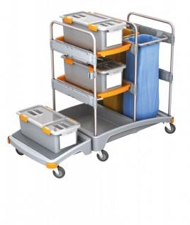 Splast Plastik-Reinigungswagen mit 2x 70l Abfallsackhalter, 3 Mopboxen und Regal