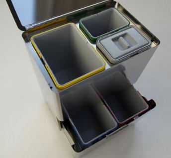Graepel High Tech hochwertiges Mülleimer-Trennsystem Five aus gebürstetem Edelstahl - Vorschau 2
