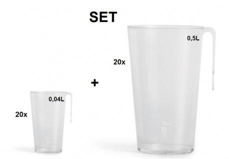 20x Mehrweg-Becher Party-Set transparent 0, 5l - Kunststoff + 20x Mehrweg Schnaps-Becher transparent 0, 04L-Kunststoff