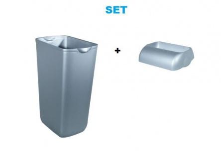 Set - Marplast Mülleimer 23L Satin MP 742 - mit Einwurf-Öffnung Deckel