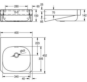 Franke Waschtisch WT400C aus Chromnickelstahl mit Überlauf zur Wandmontage - Vorschau 3