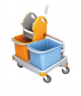 Splast kleiner Reinigungswagen in orange und blau mit Moppresse und 2 Plastikeimern