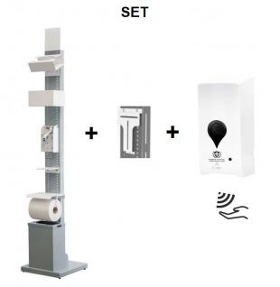 SET Desinfektionssäule Station Grau mit Sensor Desinfektionsspender -- Multifunktional